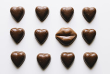 Grid Of Chocolate Valentine's Day Hearts And Lips Candy