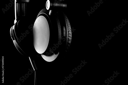headphones on black - 173049434