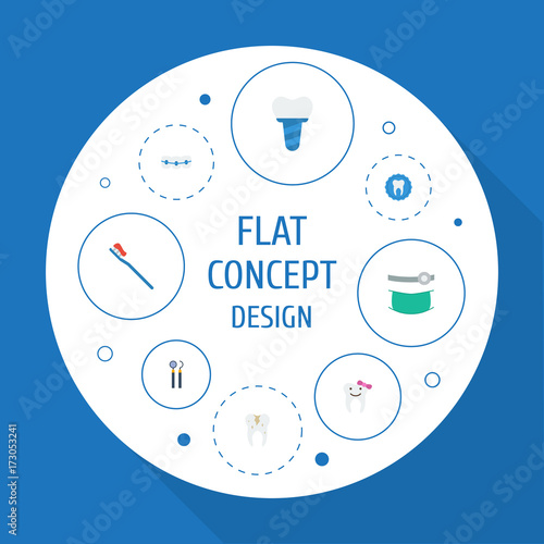 Flat Icons Stomatology, Implantation, Children Dentist And Other Vector Elements Canvas Print