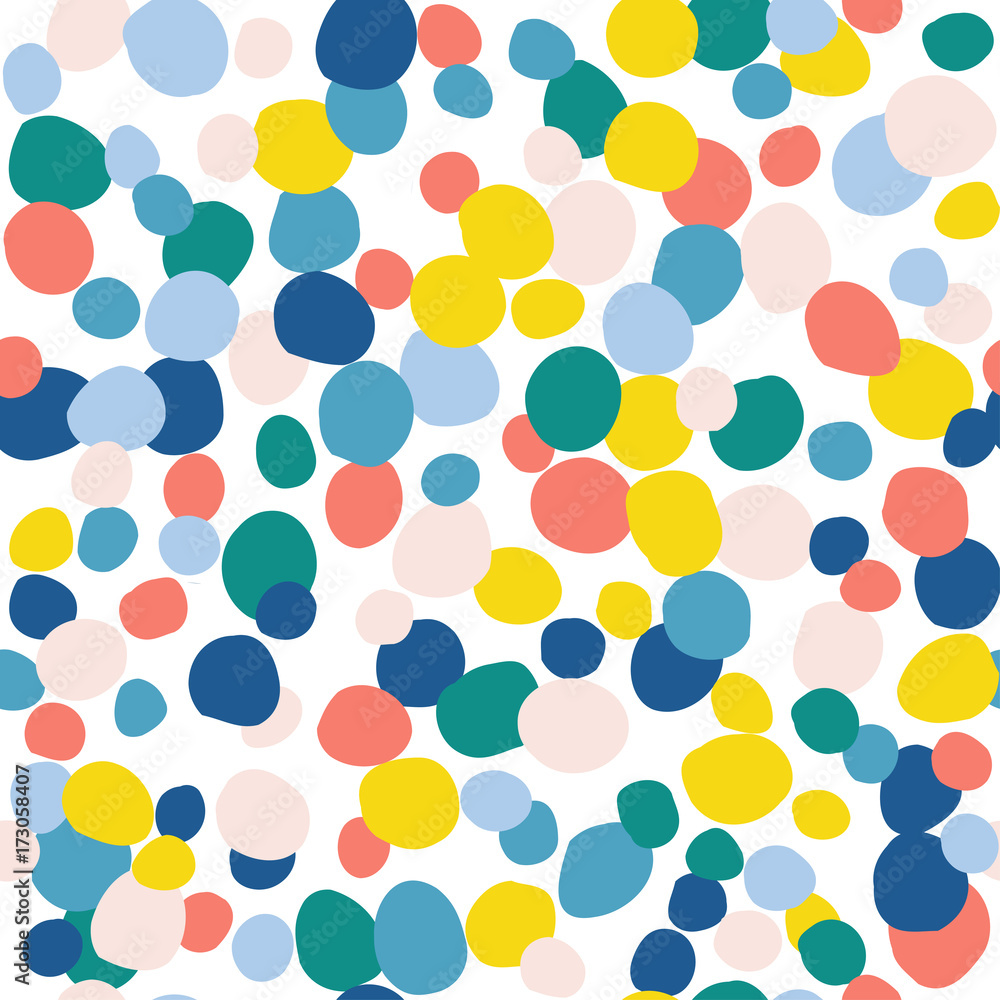 Abstract handmade round seamless pattern background. Childish handcrafted wallpaper