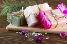 Natural Handmade Soap On Woode...