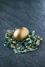 Easter: Golden Egg Sits In Nes...