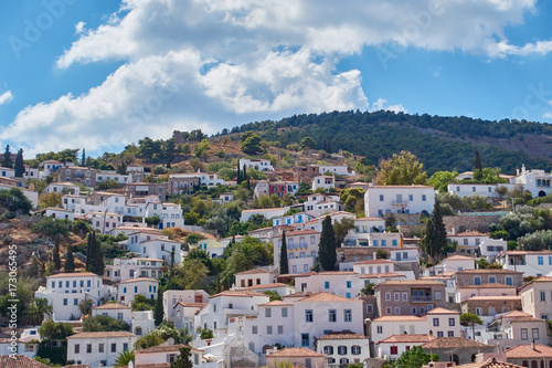 Hydra island Greece, picturesque view of the old town