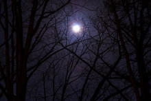 The Full Moon In Cloudy Sky Se...