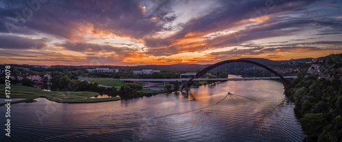 Spoed Foto op Canvas Aubergine Pennybacker Bridge in Austin, Texas during sunset