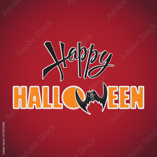 Happy halloween inscription on a red background design of the happy halloween inscription on a red background design of the message banner m4hsunfo