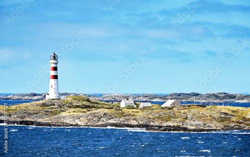 Montage in der Fensternische Leuchtturm Lighthouse Oksøy fyr south of Kristiansand in Norway