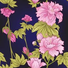Fototapeta Japoński Seamless pattern with pink peony in Japanese style. Vector stock