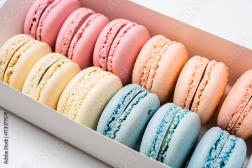 Fotobehang Macarons Colorful assorted macaroon cookies in a gift box