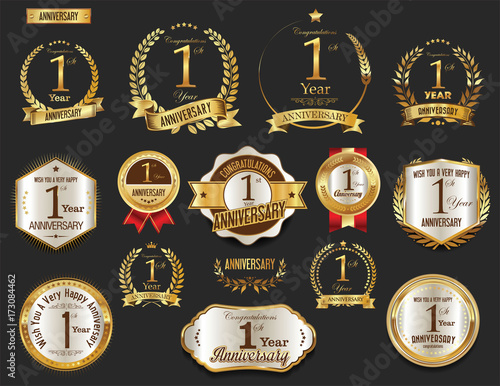 Fototapeta Anniversary golden laurel wreath and badges 1 year vector collection obraz
