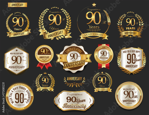 Photo  Anniversary golden laurel wreath and badges 90 years vector collection