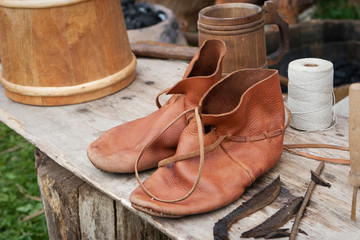 Pair of antique leather shoes