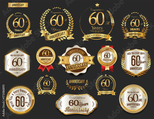 Anniversary golden laurel wreath and badges 60 years vector collection Tableau sur Toile