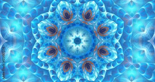 Plakat Ilustracyjny fractal tło z błękitnym ornamentem
