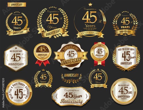Fotografering Anniversary golden laurel wreath and badges 45 years vector collection