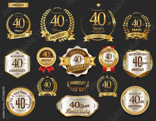 Papel de parede  Anniversary golden laurel wreath and badges 40 years vector collection
