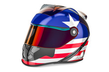 Racing Helmet With Flag Of USA, 3D Rendering