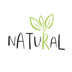 NaklejkaVector eco, bio green logo or sign. Vegan, raw, healthy food bad