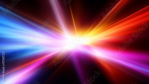 Obraz Bright flash. Abstract motion blur background with power explosion - fototapety do salonu