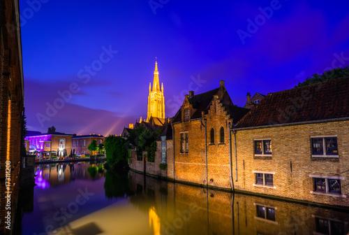 Wall Murals Bridges Night view over Brugge, Belgium