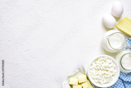 Staande foto Zuivelproducten Assortment of dairy products.Top view with copy space.
