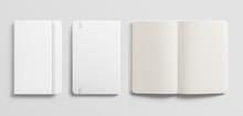 Blank Photorealistic Notebook Mockup On Light Grey Background.