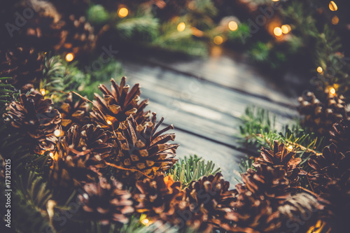 macro pine cone christmas tree branchxmas lightsnatural decor garlandvintage toned