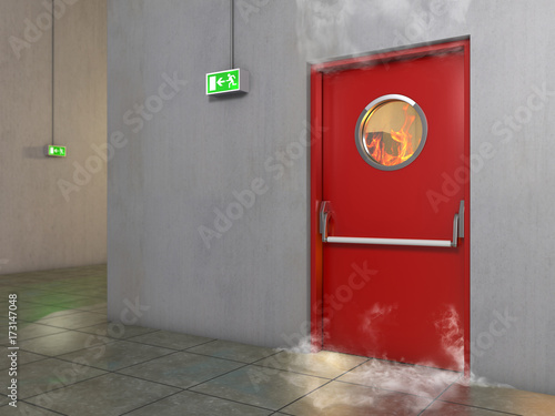 Vászonkép Fire prevention door, 3D Illustration