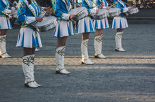 Young Drummers At A Military Parade.