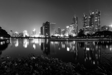 Cityscape Of Benchakitti Park In Thailand, Black And White.