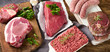 canvas print picture - Different types of fresh raw meat