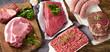 Leinwanddruck Bild - Different types of fresh raw meat