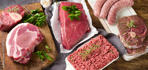 Photo Stands Meat Different types of fresh raw meat