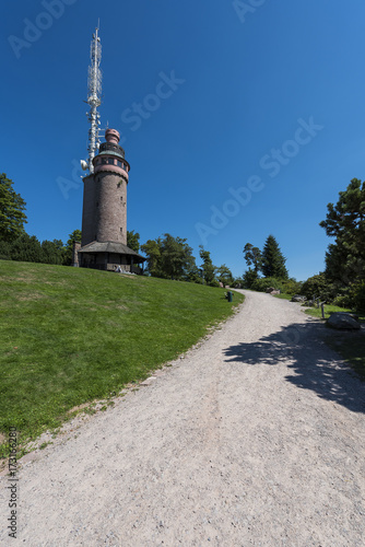 Valokuva Trail to the Mercury Tower on top of Mount Merkur in Baden-Baden
