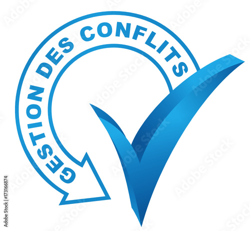 gestion des conflits sur symbole validé bleu Canvas Print