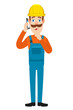 Builder talking on mobile phone and standing with his finger to his lips