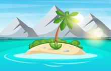 Island Cartoon. Sea And Sun. V...