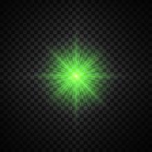 Vector Green Glowing Lights On Transparent Background. Special Effect Light Rays. Spark, Star Burst, Flash. Spotlight Flare. Illumination.