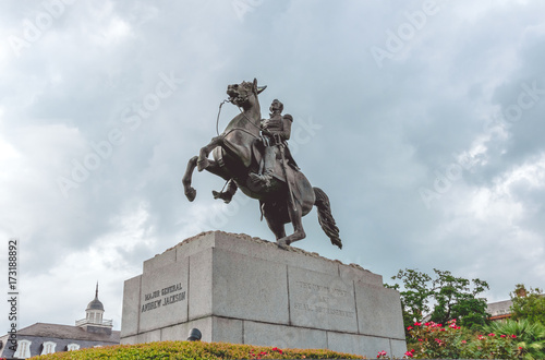 Photo  Monument to President Andrew Jackson in the French Quarter of New Orleans, Louis