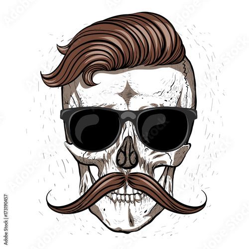 Plakat Hipster czaszki w okularach i wąsy.