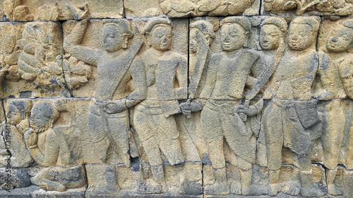 Photo sur Toile Cailloux Statues du temple de Borobudur sur l'île de Java, Indonésie