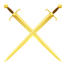 Two Crossed Swords Of Gold On ...