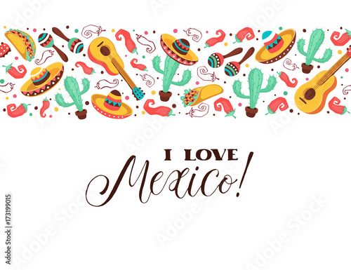 I Love Mexico Poster In Horizontal Stripe Composition Mexican