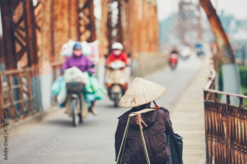 Traffic on the bridge in Hanoi