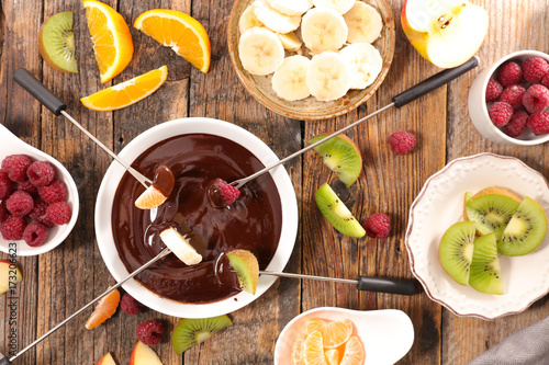 chocolate fondue with fruits Canvas Print