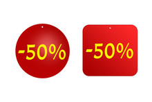 50 Percent From Red Stickers On A White Background. Discounts And Sales, Holidays And Education