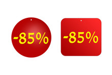 85 Percent From Red Stickers On A White Background. Discounts And Sales, Holidays And Education