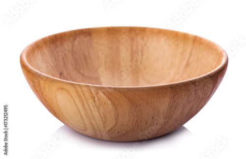 Wooden bowl isolated on white background Fototapete