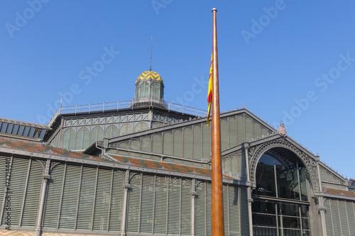 Plakat Fasada Born Market, XIX wiek. Dzielnica Gotycka w Barcelonie. Barcelona, Katalonia, Hiszpania