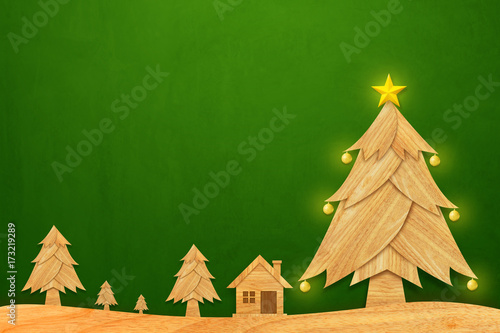 House with christmas tree and golden star in winter. Christmas season made from wood with decorations art style illustration